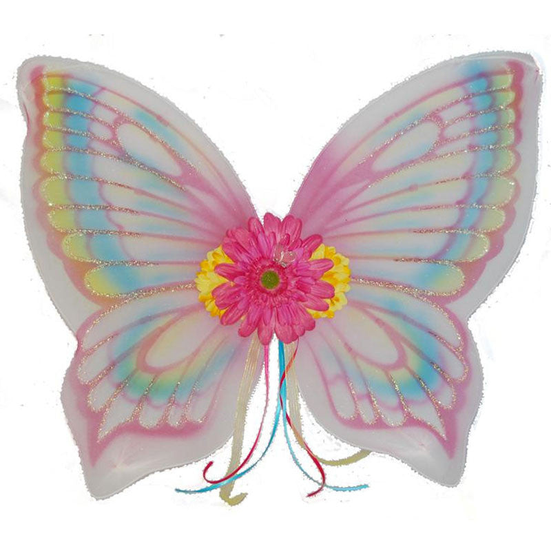 Girls dress up fairy wings multicolor with flower and ribbon details