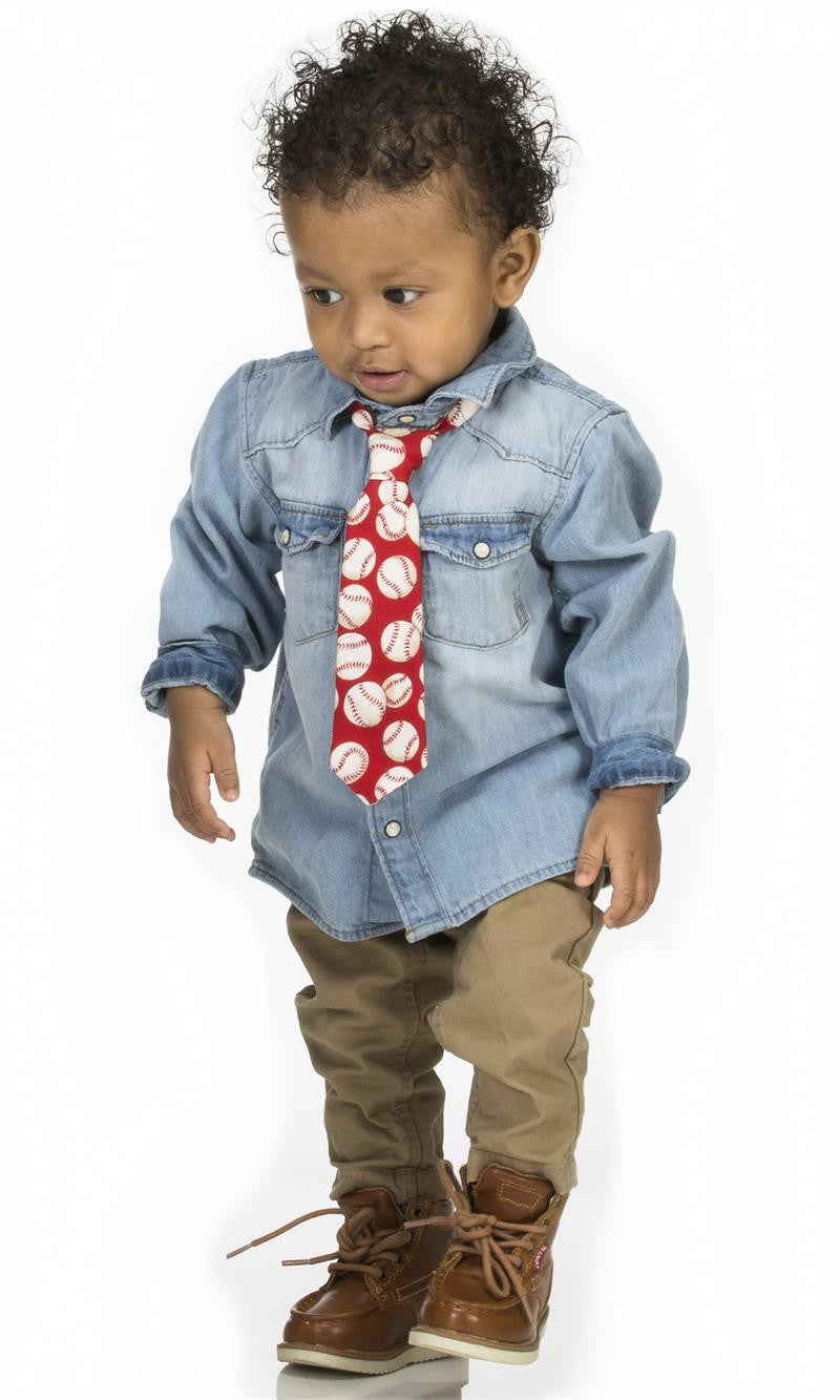 Toddler wearing Fly Guy necktie in red baseball print