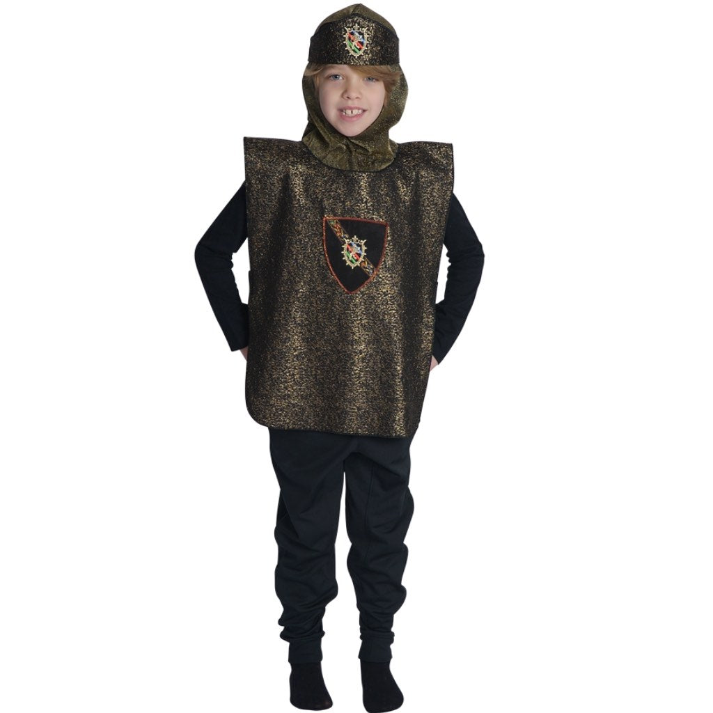 Boy wearing knight costume dress up with gold shield, crown and felt sword