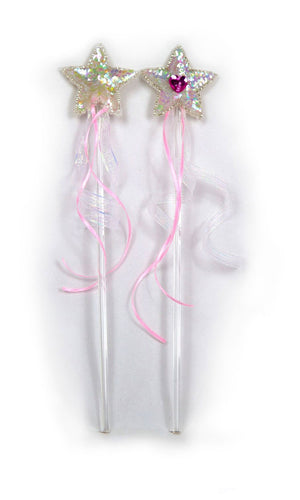 toy wand with sequin star and ribbons