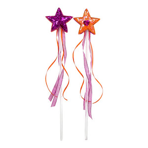 toy wand with fuchsia and orange sequin star and ribbons