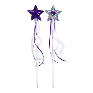 toy wand with purple sequin star and ribbons