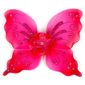 fuchsia fairy wings with flower and sparkle details