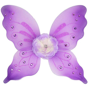 purple fairy wings with flower and sparkle details
