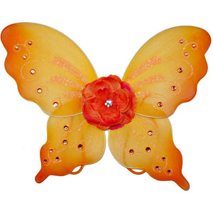 orange fairy wings with flower and sparkle details