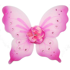 pink fairy wings with flower and sparkle details