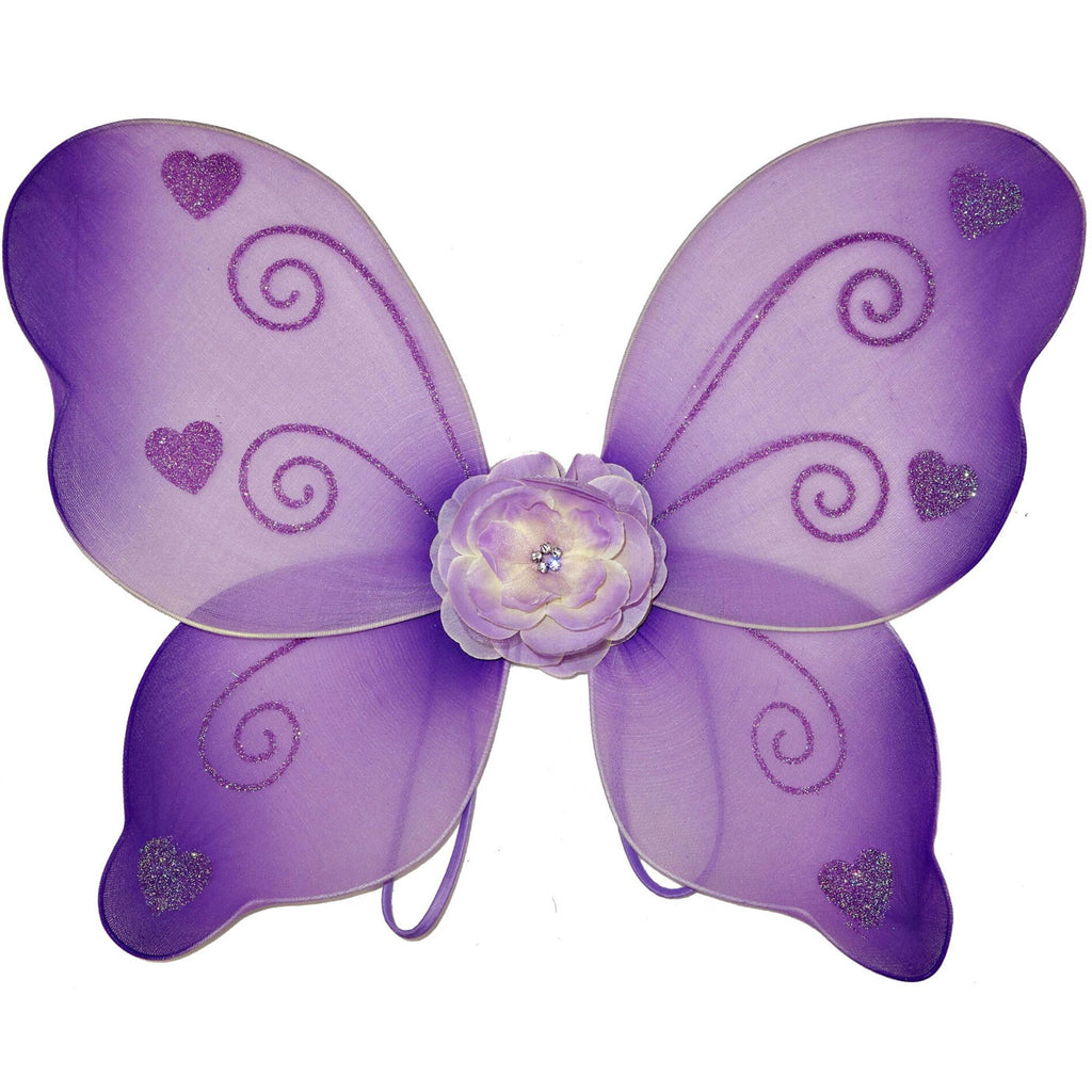 purple toddler fairy wings with flower and hearts
