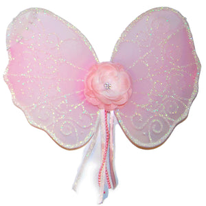 light pink toddler fairy wings with flower and ribbon details