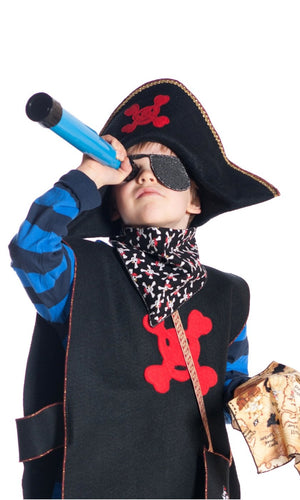 boy dressed up as pirate wearing pirate bandana and pirate hat