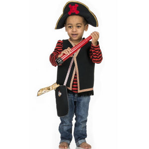 toddler wearing pirate costume with vest and pirate hat