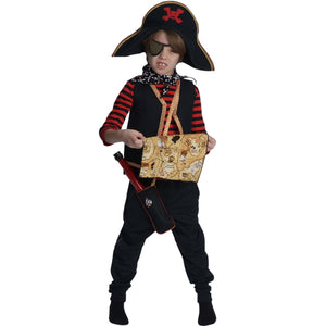 kid wearing pirate costume and holding treasure map