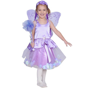 girl dresses up as purple fairy