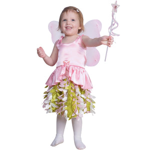 girl dressed up as pink fairy wearing wings and holding star wand