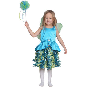 girl dressed up as teal fair wearing wings and holding pom pom wand