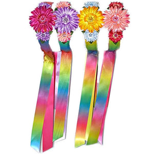 girls rainbow ribbon headbands with flowers in assorted colors