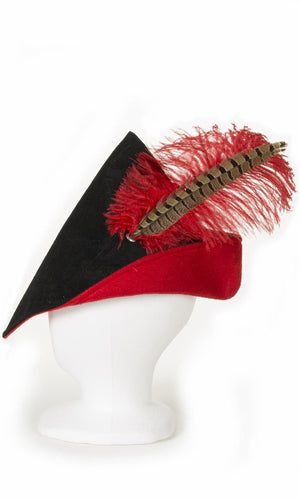 Child's woodsman hat in black and red with red feather