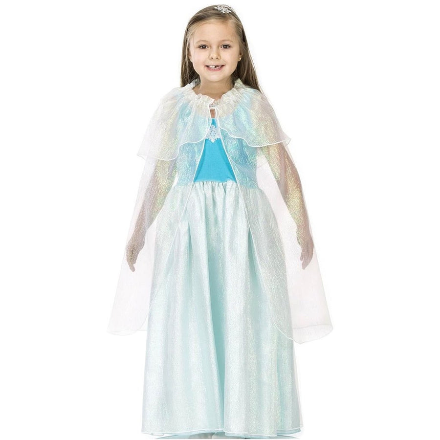 girl dressed up in frozen style blue princess dress costume