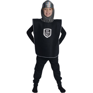 Boy dressed up as knight in black tabard and crown costume set