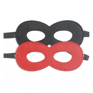 black and red felt superhero mask