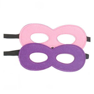 pink and purple felt superhero mask