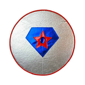 silver toy superhero shield with red star