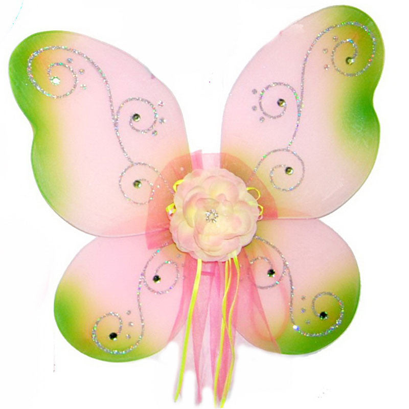 Girls fairy wings pink with lime