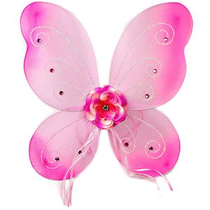 Girls fairy wings pink with rose