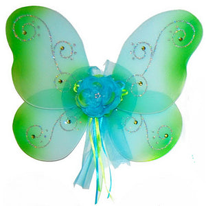 Girls fairy wings turquoise with green