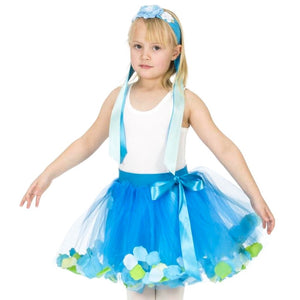 Girl wearing teal flower ribbon headband and turquoise fairy costume tutu skirt