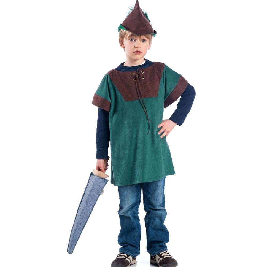Boy wearing robin hood style tunic and hat holding a toy sword