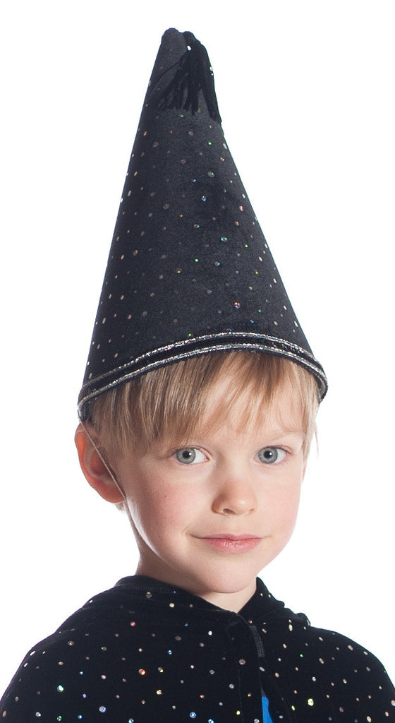 Boy wearing black wizard hat