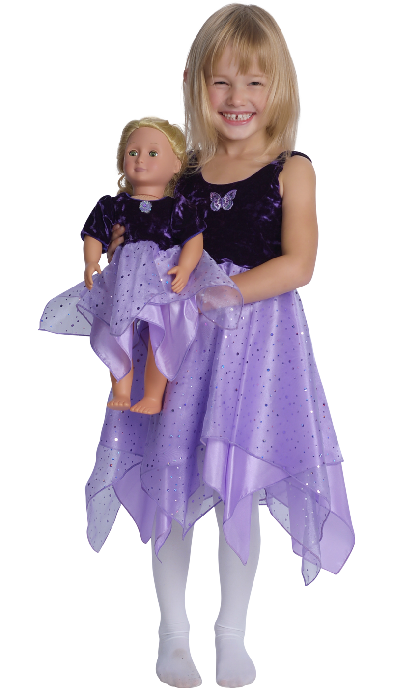 girls purple fairy dancer dress with matching purple doll dress