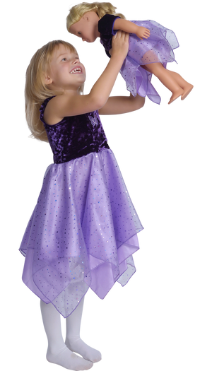 girls wearing purple fairy dress holding doll in matching dress