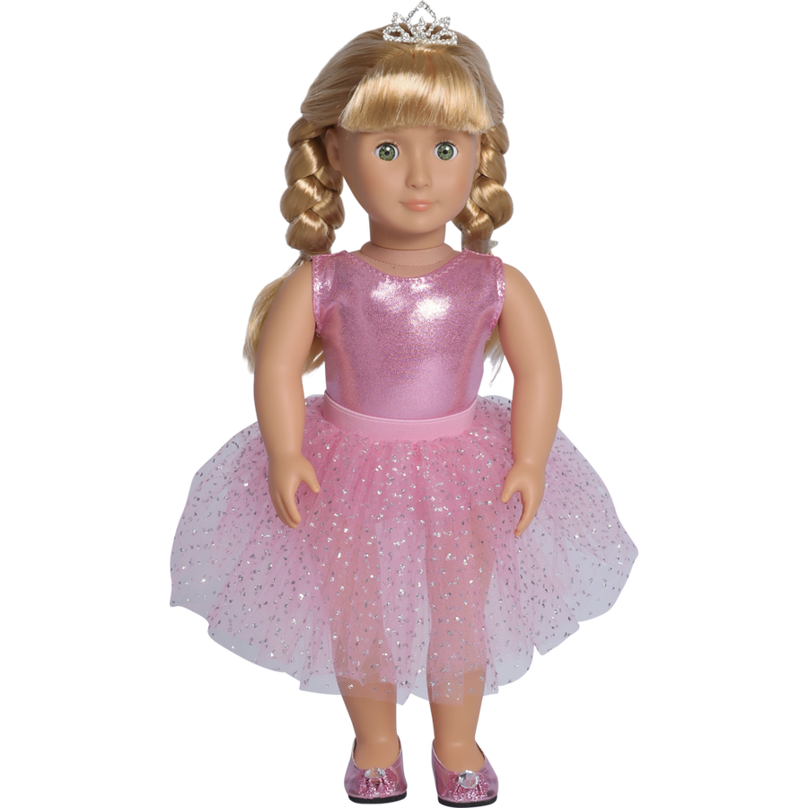 american girl style doll wearing pink ballerina outfit