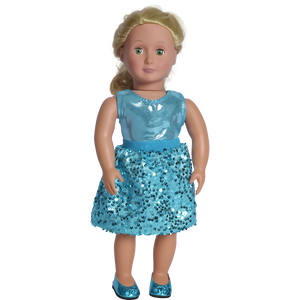 "18"" doll aqua party skirt set with matching shoes"
