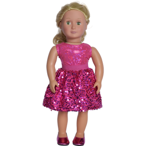 "18"" doll hot pink party skirt with matching shoes made in usa"