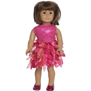 doll fuchsia petal party skirt set with leotard, skirt and matching doll shoes