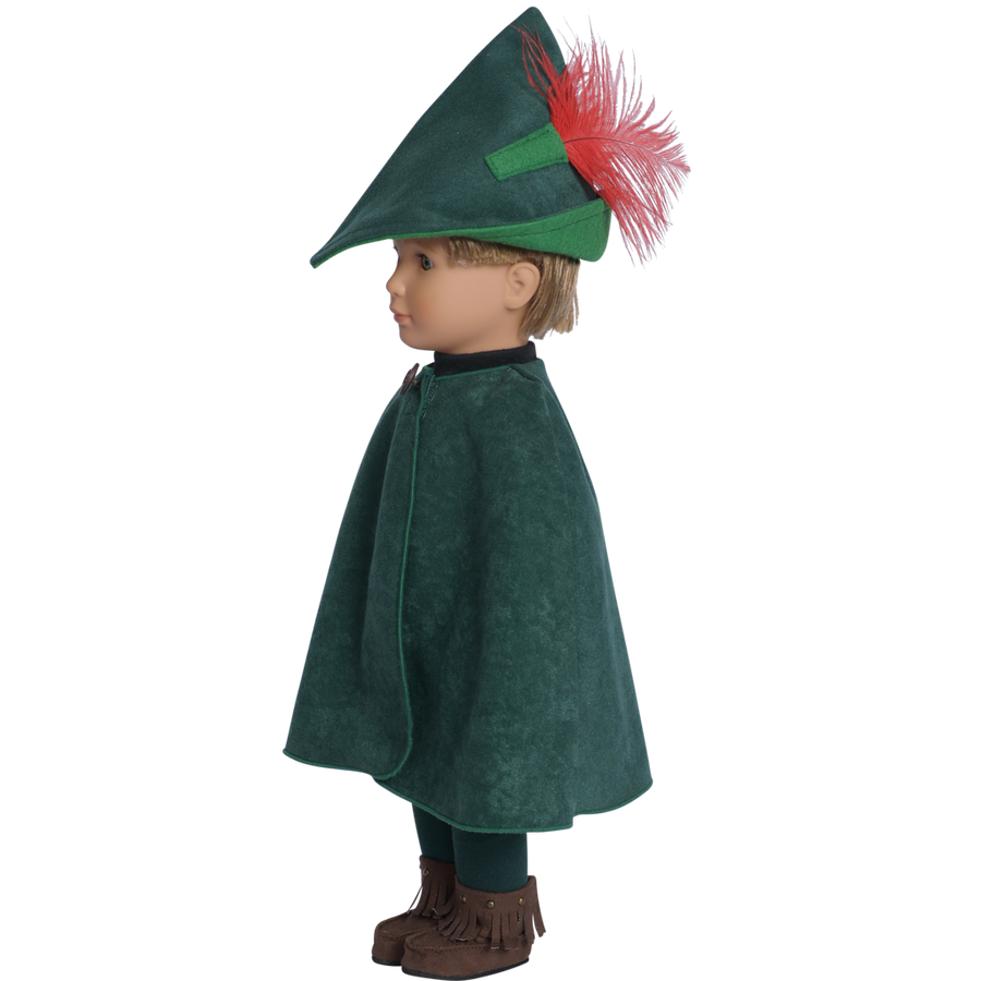 18 inch doll wearing robin hood cape and feather hat