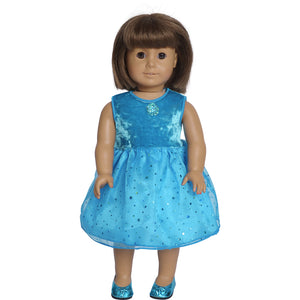 teal fairy dress for 18 inch doll with matching doll shoes