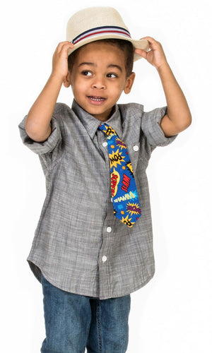 Boy wearing Fly Guy necktie in Pow Wham Bam print