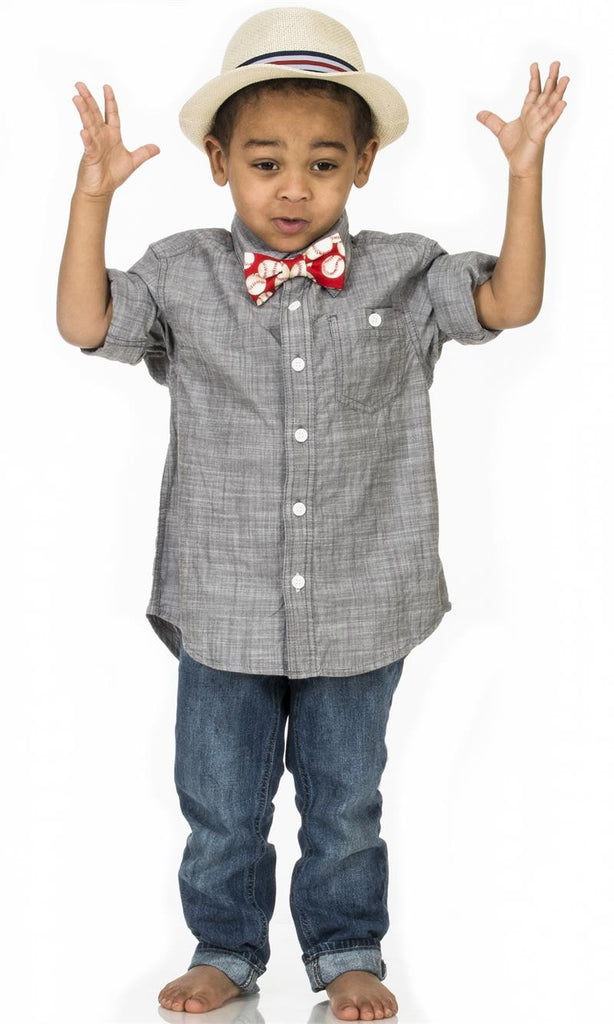 Toddler boy wearing Fly Guy bowtie in red baseball print