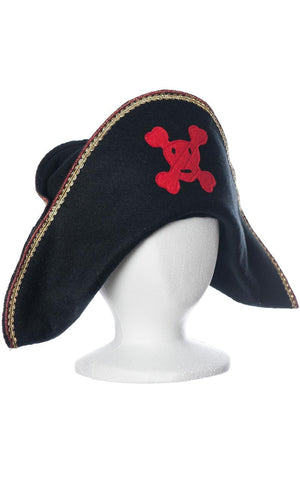 kids pirate hat with red skull and crossbones