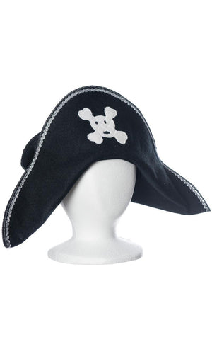 kids pirate hat with white skull and crossbones