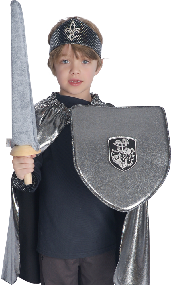 silver-look toy shield with st. george and the dragon crest