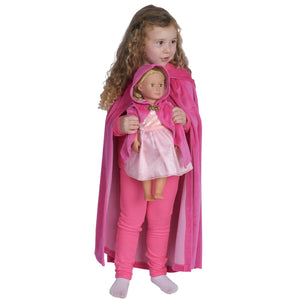 dark pink kid's cotton velour cape