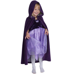girl wearing cotton  purple velour cape