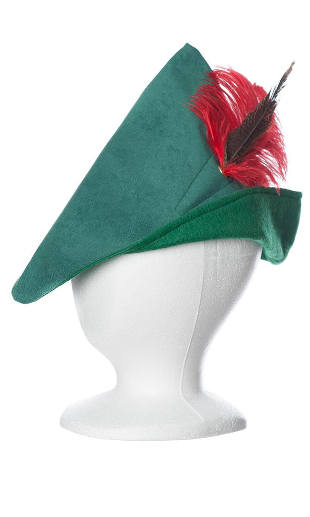 Child's woodsman hat in green with red feather