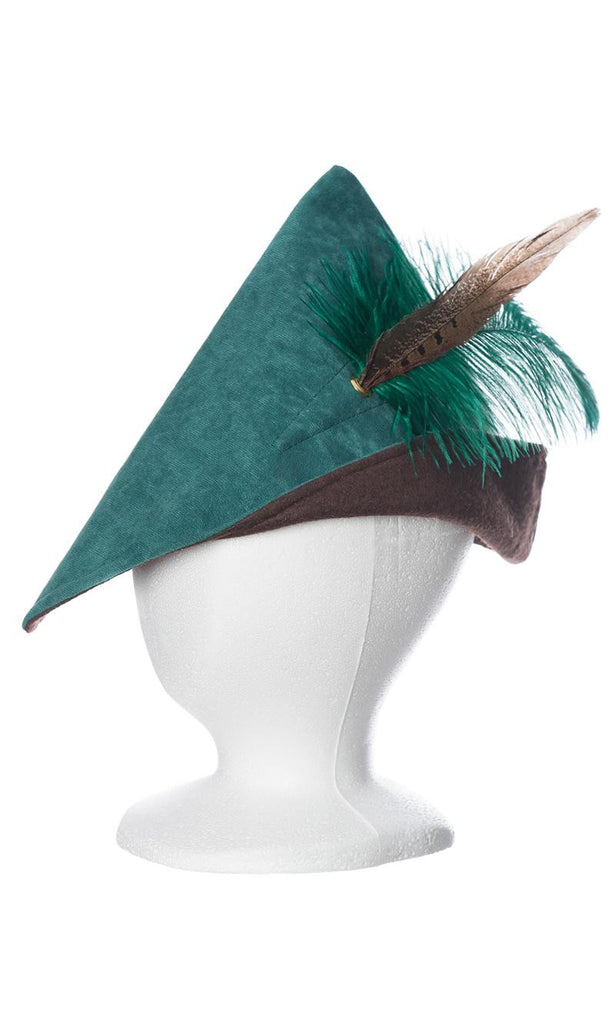 Child's woodsman hat in green and brown with green feather