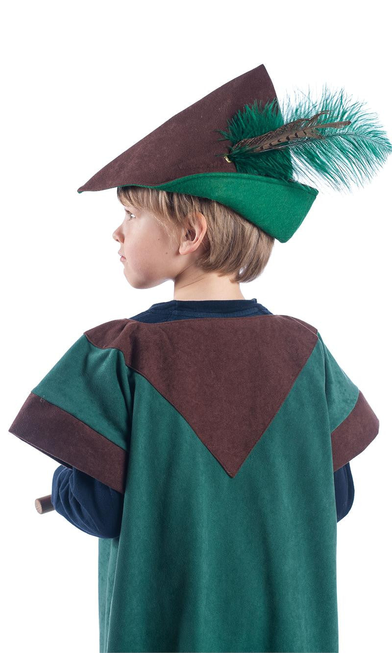 Child's woodsman hat in brown and green with green feather