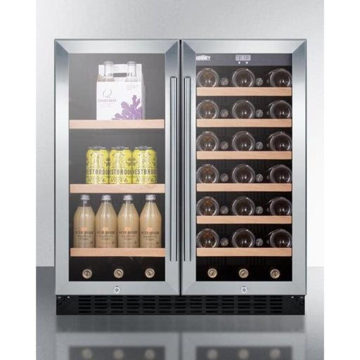 "Summit 30"" Wide Built-In Undercounter Dual Zone Wine and Beverage Cooler SWBV3071"
